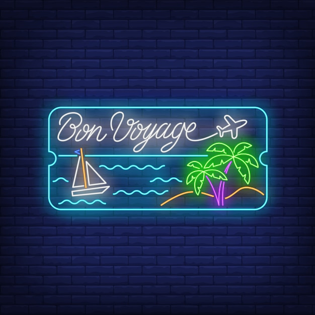 Bon voyage neon lettering with sea beach, palm trees and ship Free Vector