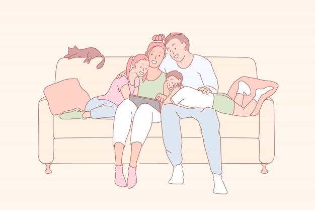 現代のレジャー、家族関係、親bondingの接合の概念 Premiumベクター