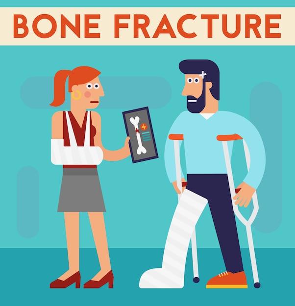 Bone fracture vector character cartoon illustration Premium Vector