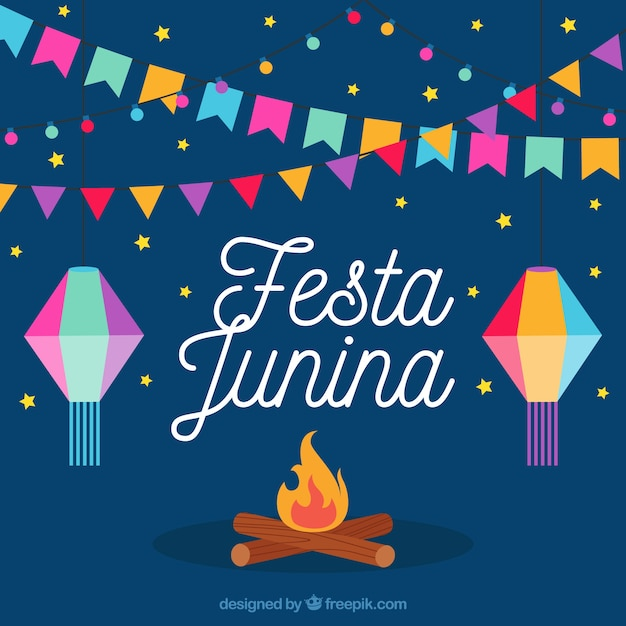 Bonfire background with colorful party decoration junina ...