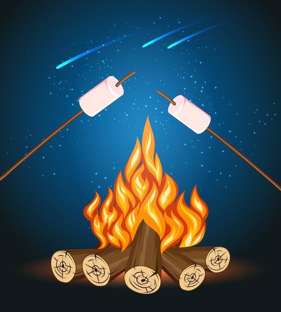 マシュマロと焚き火、キャンプグリルマシュマロベクトルイラスト。屋外のマシュマロ、キャンプファイヤーの夜、食べ物のマシュマロスティック 無料ベクター
