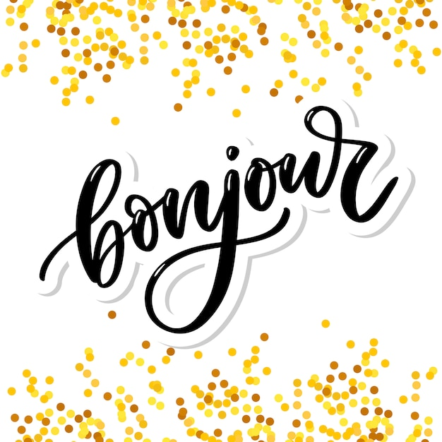 Premium Vector Bonjour Inscription Good Day In French