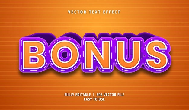 Bonus text effect, editable text style Premium Vector
