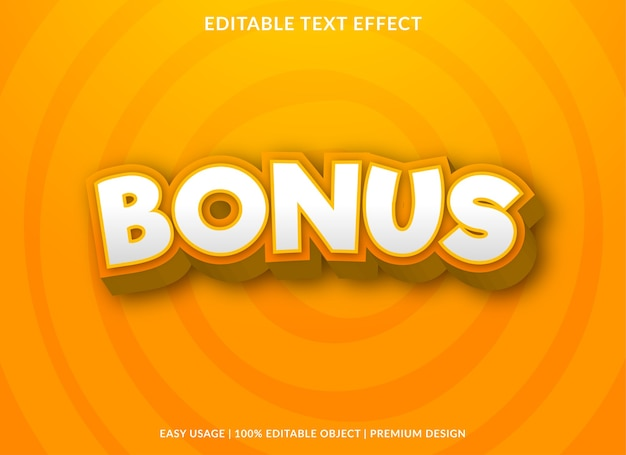 Bonus text effect template Premium Vector