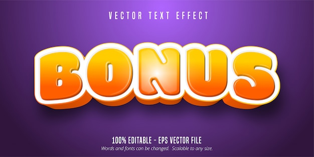 Bonus text, game style editable text effect Premium Vector