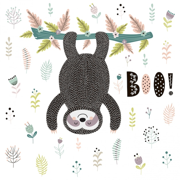 Boo! cute card with a sloth hanging from the tree Premium Vector