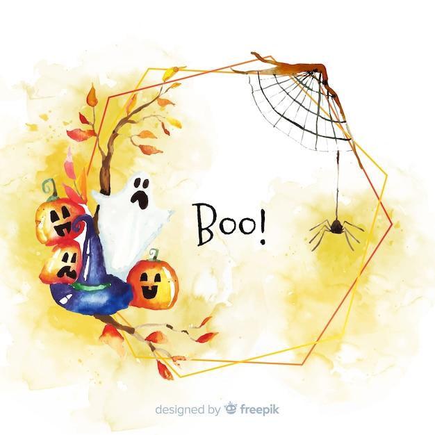 Boo halloween frame concept in watercolour Free Vector