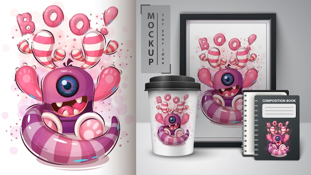 Boo monster poster and merchandising Free Vector