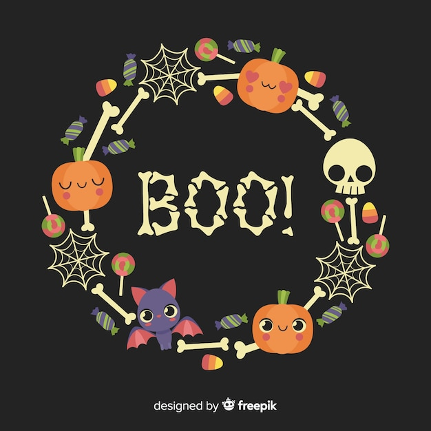 Boo! quote with crown of bones Free Vector