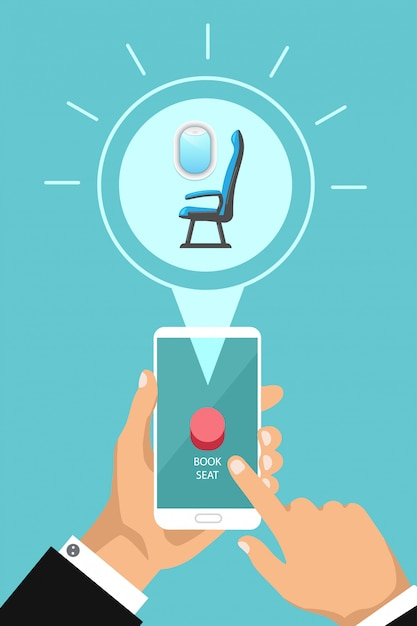Book airplane seat online by app. vector hand holding phone and push a button. buying airline cabin seat by phone. Premium Vector