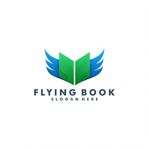 Книжка и логотип крыла Premium векторы