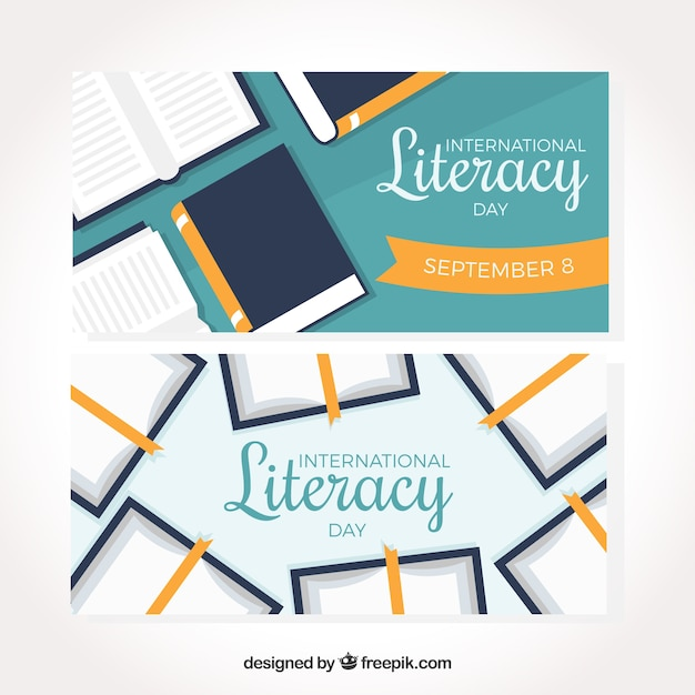 Book banners of literacy day in flat design