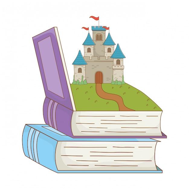 Book and castle of fairytale design vector illustration Premium Vector