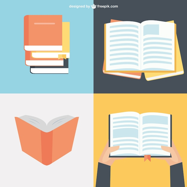 Book collection in flat design vector free download Blueprint designer free