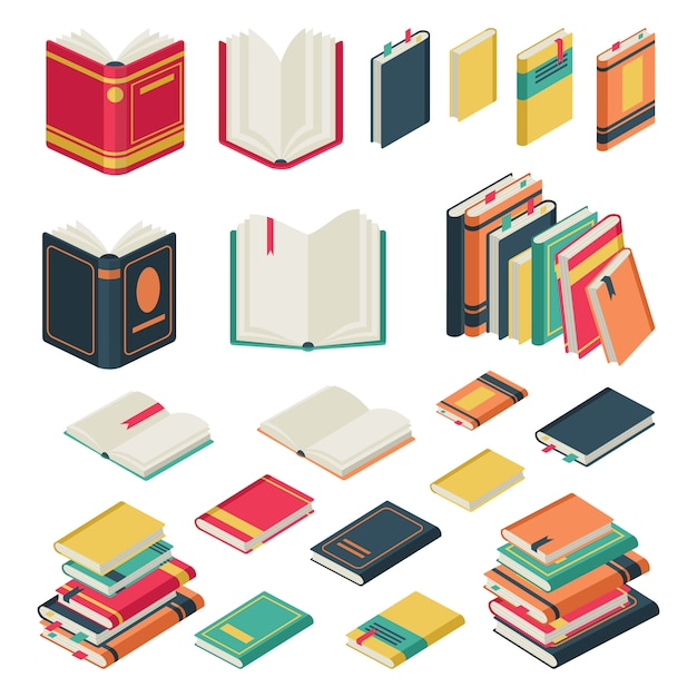 Book collection. opened and closed books set for school library publishing dictionary textbook magazine  set Premium Vector
