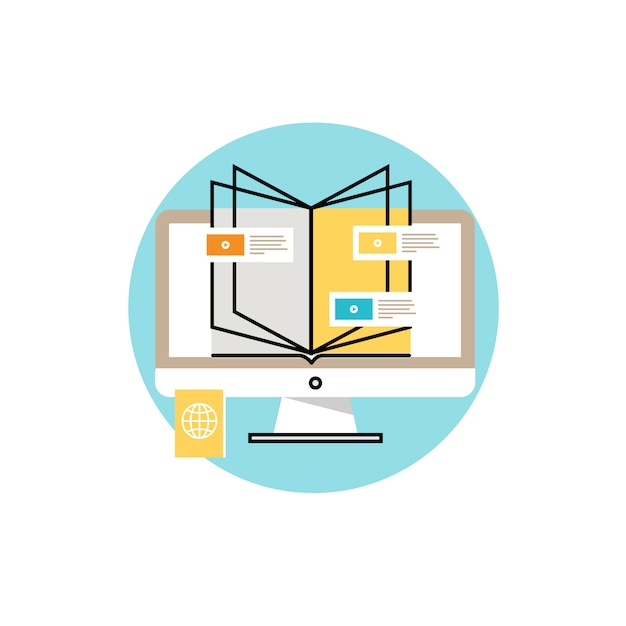 Book and computer on white background Free Vector