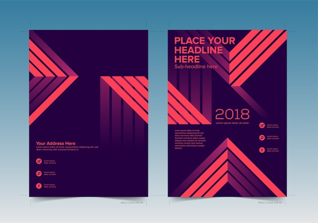 book cover design front and back with bleed area vector premium
