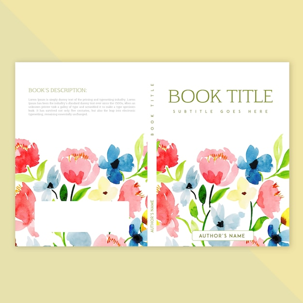 Book Cover Watercolor Flowers : Book cover design with watercolor floral and leaves vector