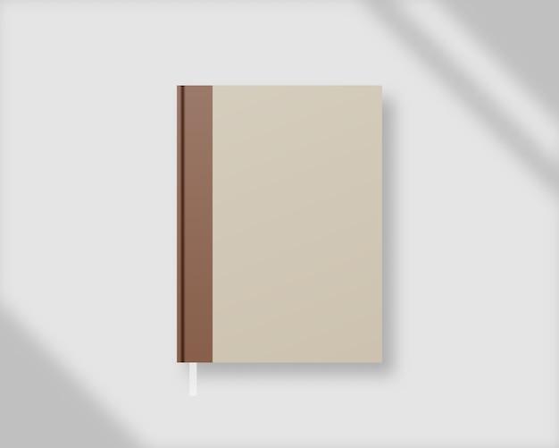 ブックカバー 。シャドウオーバーレイを使用した空の本の表紙のテンプレート。モックアップ 。テンプレートデザイン。 Premiumベクター