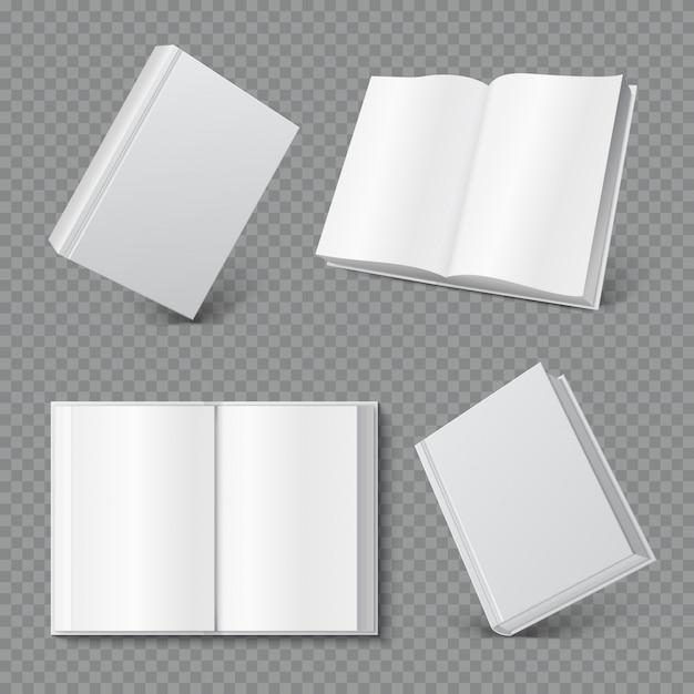 책 표지 모형. 현실적인 빈 책자 표지, 흰색 브로셔 표면, 빈 단행본 잡지 프리미엄 벡터