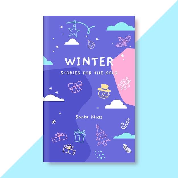Modello di copertina del libro di doodle colorato inverno disegno Vettore gratuito