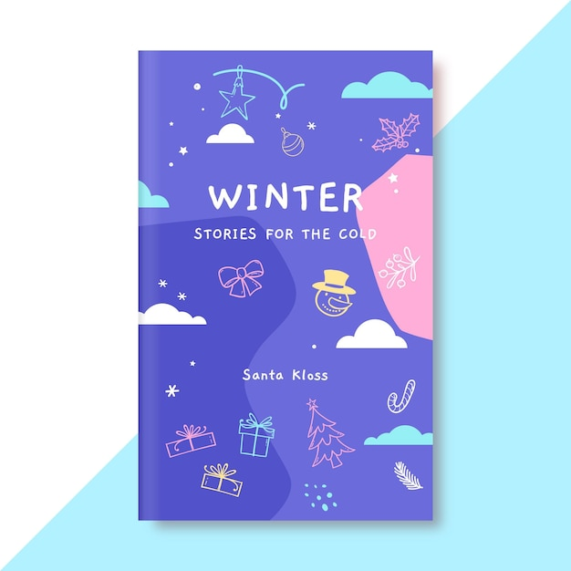 落書きカラフルな冬の描画のブックカバーテンプレート 無料ベクター