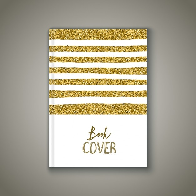 Book cover with a gold glitter design Free Vector