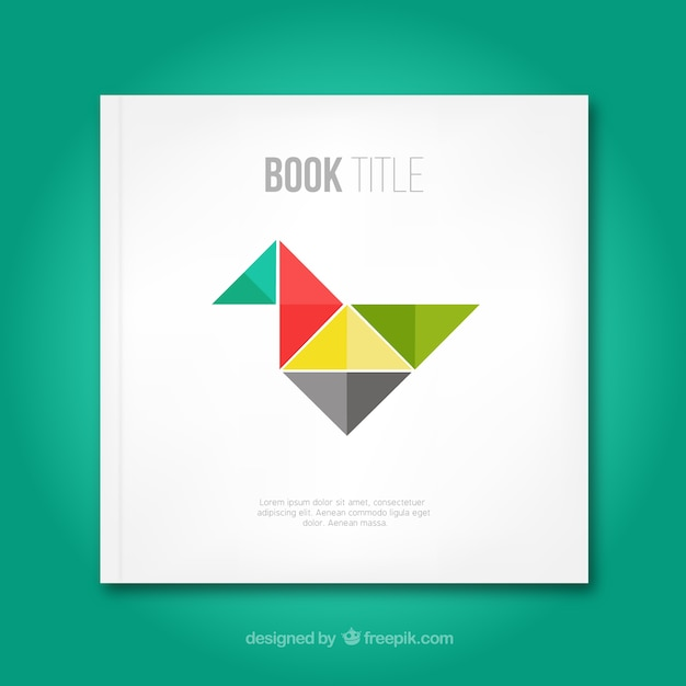 Book Cover Design Vector Download : Book cover with origami bird vector free download