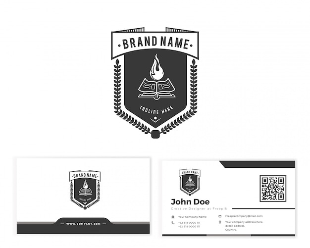 Book emblem logo with stationery business card Premium Vector