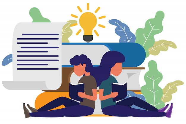 Book festival concept and people reading the book. Premium Vector