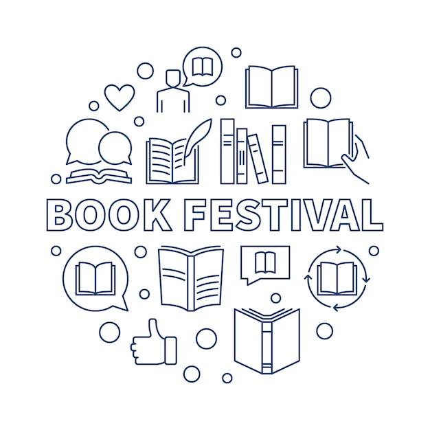 Book festival concept round outline icon illustration Premium Vector