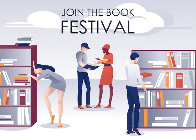 Book festival promotion poster people in library Premium Vector