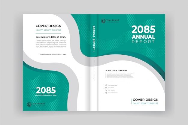 도형 디자인이 포함 된 연례 보고서 책 표지 및 뒷 표지 프리미엄 벡터