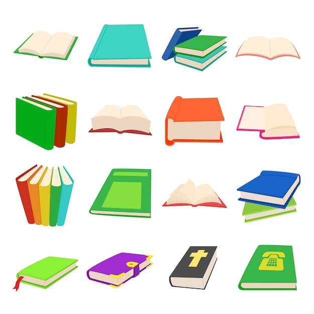 Book icons set in cartoon style for any design Premium Vector