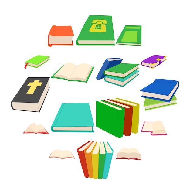 Book icons set, cartoon style Premium Vector