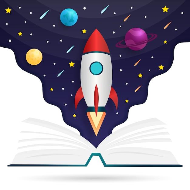 Книжная иллюстрация источников знаний Premium векторы
