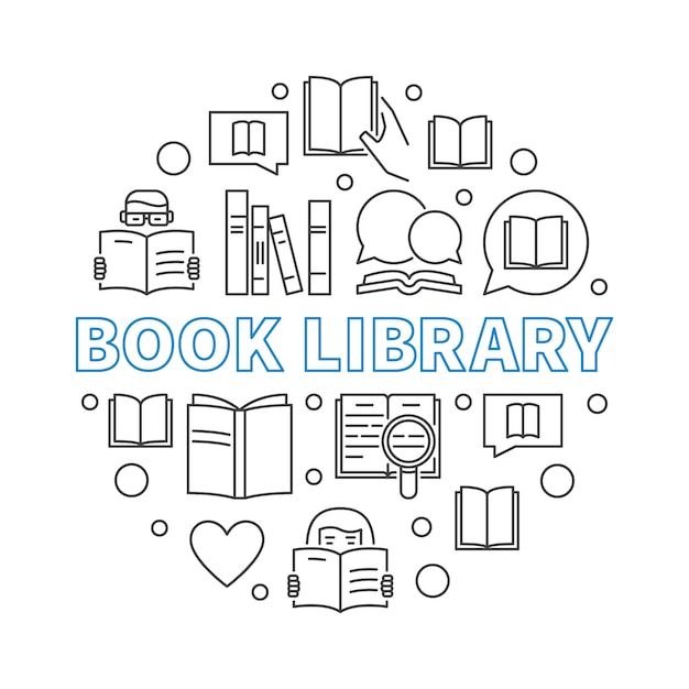 Book library concept round outline illustration Premium Vector