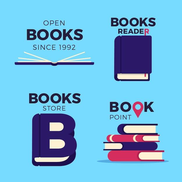 Книжный логотип набор плоский дизайн Бесплатные векторы
