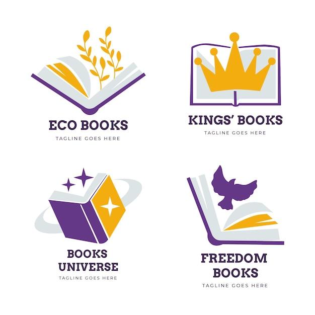 Коллекция шаблонов логотипов книги Бесплатные векторы