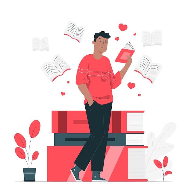 black guy reading a novel standing up illustration