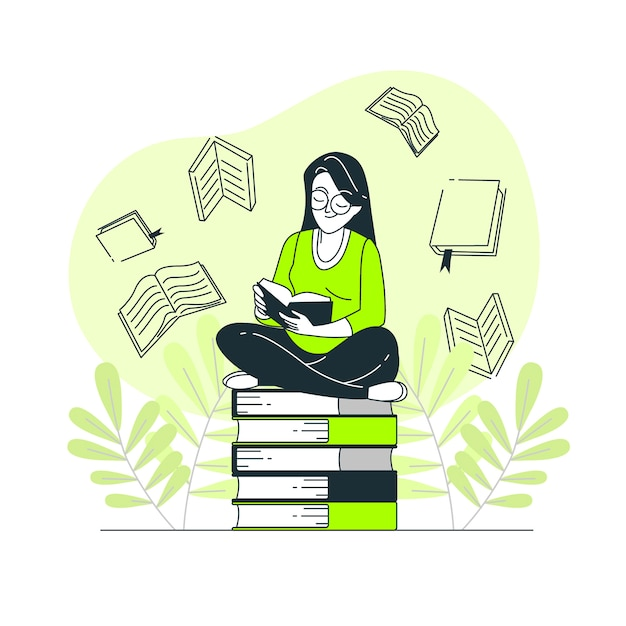 Book lover concept illustration Free Vector