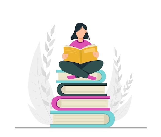 Book lover reading library concept Premium Vector