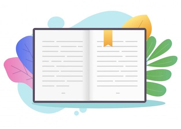 テキストまたはブックマーク付きの教科書用紙で開いているページを予約します。 Premiumベクター