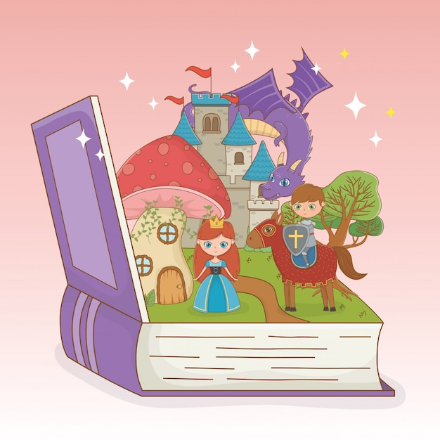 Book open with fairytale castle and group characters Free Vector