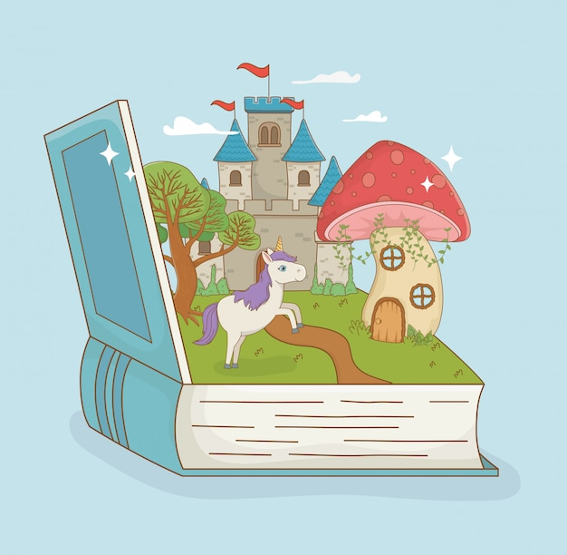 Book open with fairytale castle and unicorn Free Vector