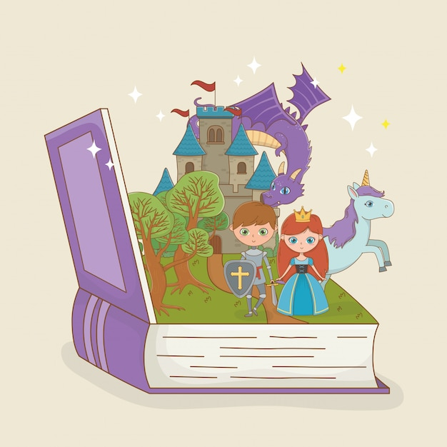 Book open with fairytale castle with dragon and characters Free Vector