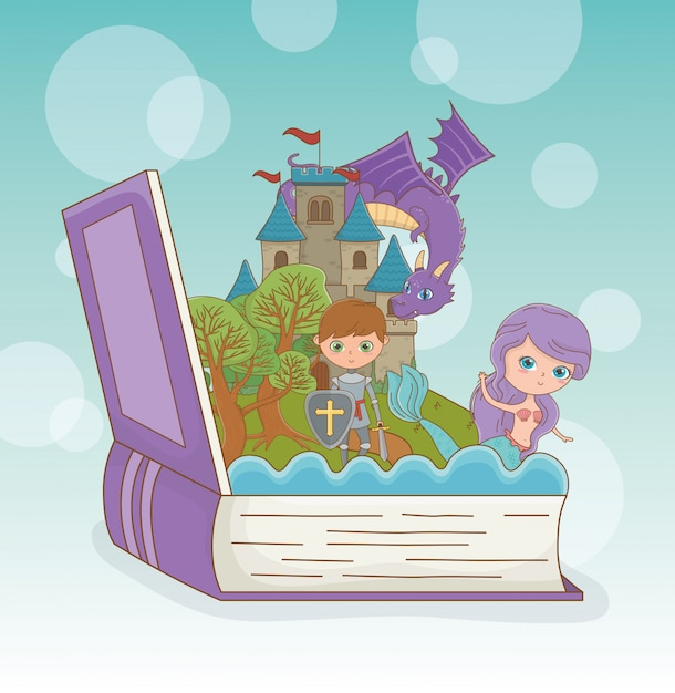 Book open with fairytale dragon in castle with warrior and mermaid Free Vector