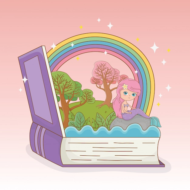 Book open with fairytale mermaid and rainbow Free Vector