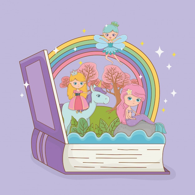 Book open with fairytale mermaid with princess in unicorn Free Vector