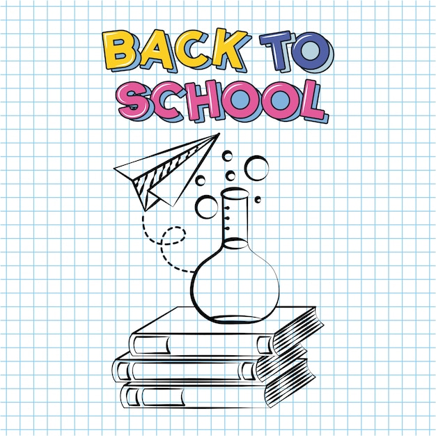 Book, paper plane, chimestry test tube, back to school doodle drawn on a grid sheet Free Vector
